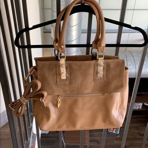 Taupe Faux Leather And Suede Crossbody Satchel.